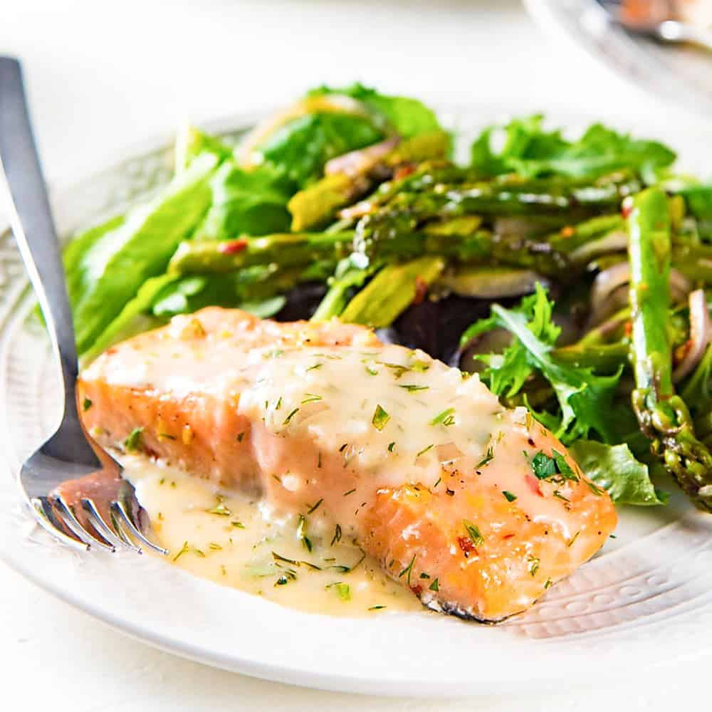 Slow Roasted Salmon With Lemon Butter Sauce