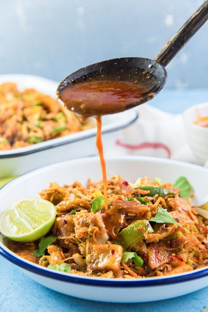 Sri Lankan Kottu Roti - Leftover Curry sauce being poured over kottu. My favorite way to enjoy Chicken Kottu roti.
