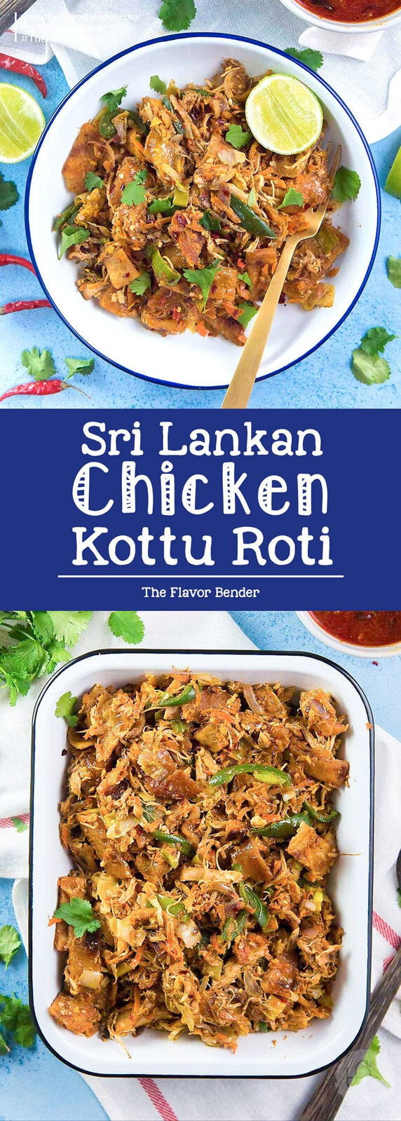 Sri Lankan Chicken Kottu Roti - Stir fried chopped flatbread Sri Lankan style. Koththu roti is a popular Sri Lankan food that you can now enjoy at home. Great way to use up leftover chicken or vegetables too. #SriLankanFood #SriLankanStreetFood #StreetFood #LeftoverRecipes