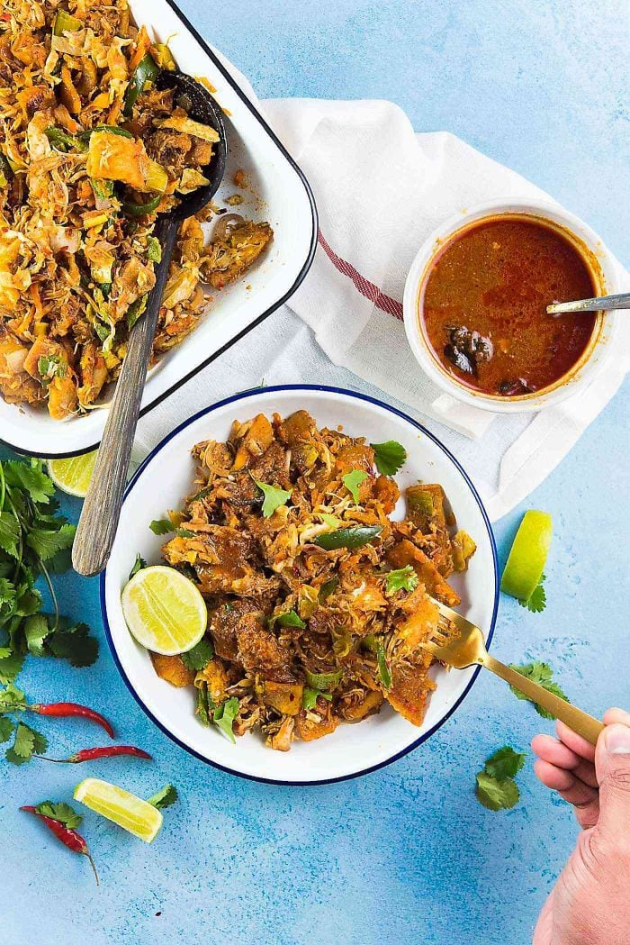 Sri Lankan Chicken Kottu - Perfect Sri Lankan street food . Koththu roti can be served on a plate with a side of curry sauce. Lime is optional, just brightens the flavors.