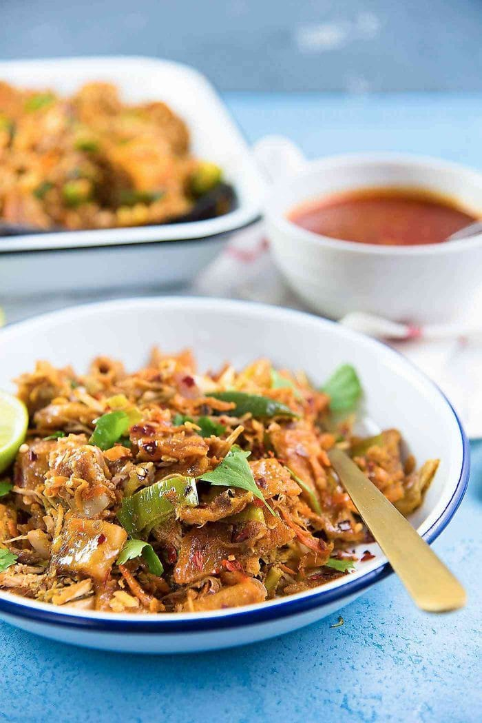 Sri Lankan Chicken Kottu Roti - All the vegetables and protein used to make Koththu roti stirfried with shredded roti.