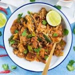 Sri Lankan Chicken Kottu Roti - Stirfried chopped flatbread Sri Lankan style. Koththu roti is a popular Sri Lankan food that you can now enjoy at home. Great way to use up leftover chicken or vegetables too.