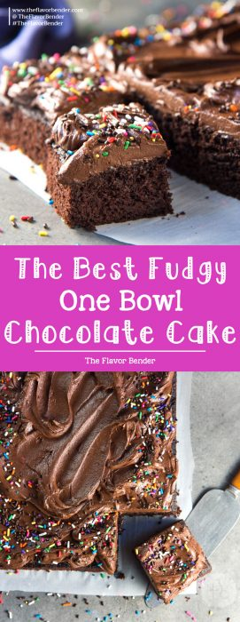 The Best One Bowl Chocolate Sheet Cake - A delicious fudgy chocolate sheet cake that is so easy to make. Top it up with a creamy chocolate buttercream frosting.  #BestChocolateCake #ChocolateSheetCake #FudgyChocolateCake