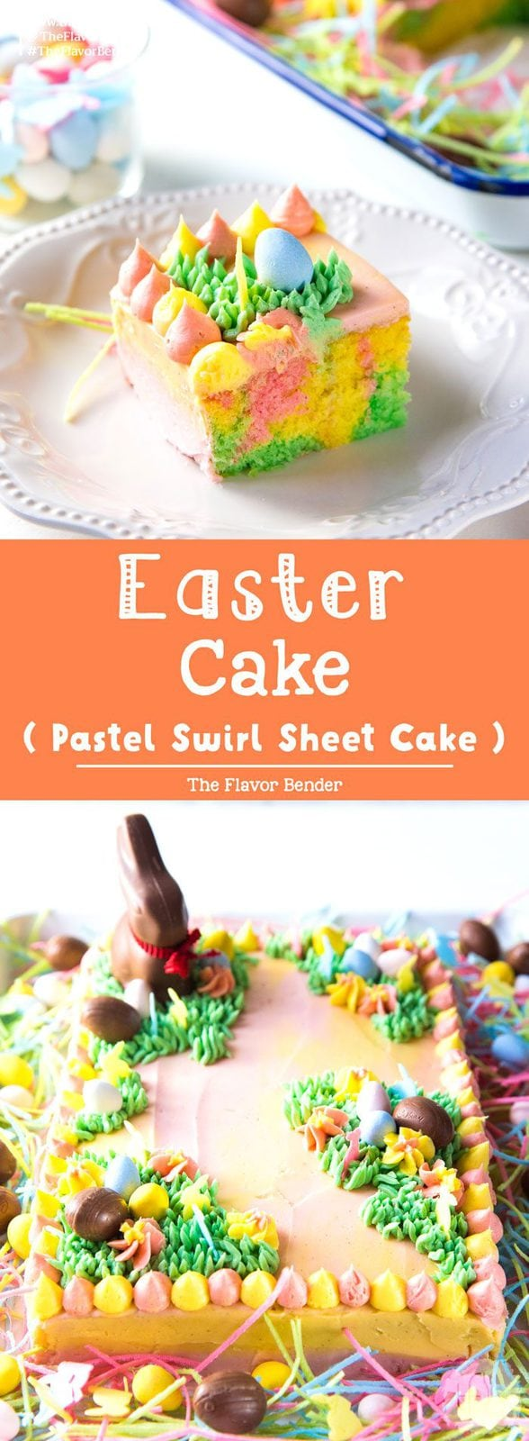 Pastel Easter Cake - This gorgeous Easter sheet cake is a cinch to decorate with buttercream decorations and your favourite Easter candy! It's perfect for a crowd and is the best buttery and soft vanilla cake! #EasterCakeDecorating #EasterCakes #PastelEasterCake