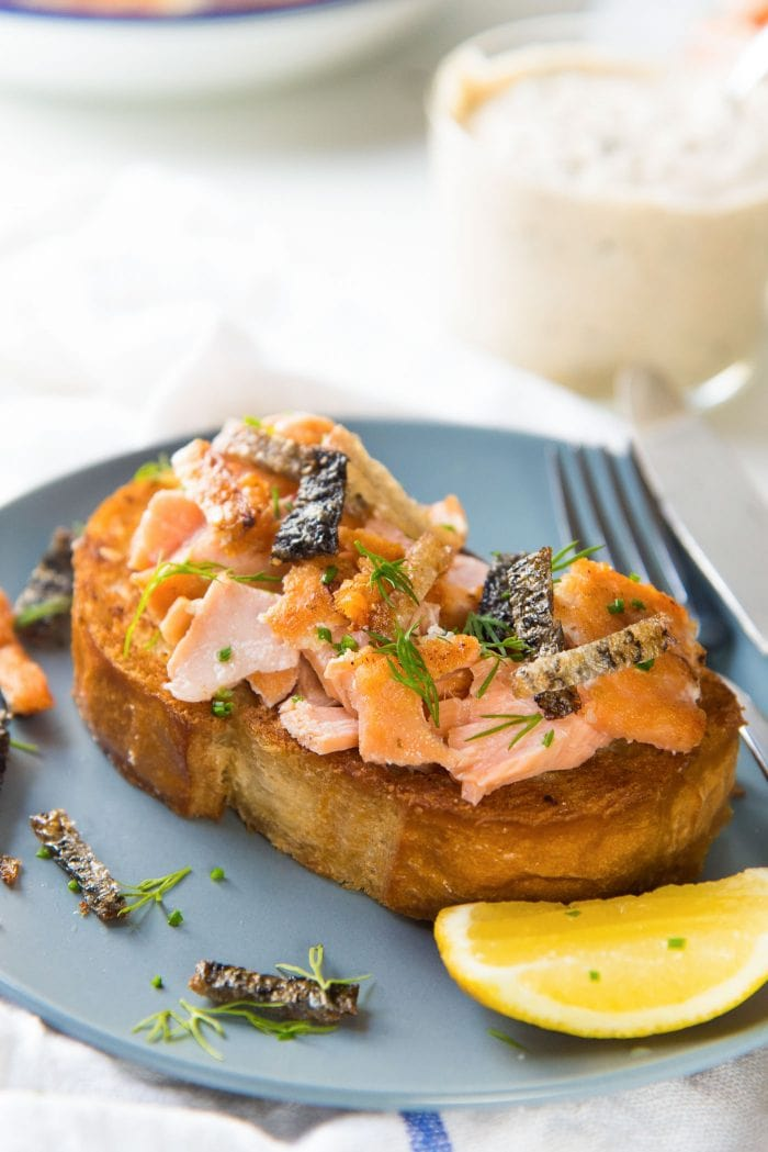 Egg in a hole with Salmon - Serve the Egg in a hole toast with leftover salmon, OR smoked salmon slices. It's a great way to use up leftover fish from dinner as well.