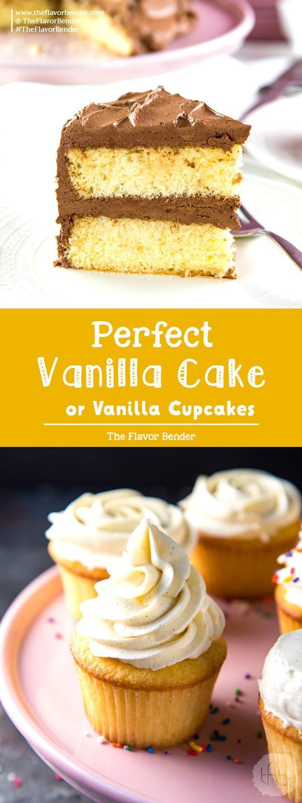 The Best Vanilla Cake - Delightfully soft, buttery, classic vanilla cake with a creamy chocolate or vanilla frosting! With heaps of tips to get perfect cakes every single time. #VanillaCake #VanillaCupcakes #VanillaCakeGuide