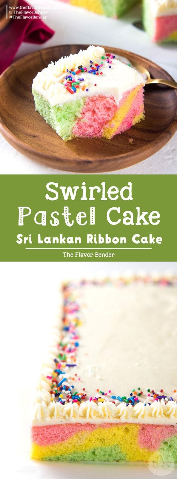 Swirled Pastel Cake (Ribbon Cake) - a delicious vanilla cake with pastel swirls, and vanilla buttercream frosting. Perfect for birthdays, and celebrations like Easter!#SwirledPastelCake #PastelSheetCake #RibbonCake #VanillaCake
