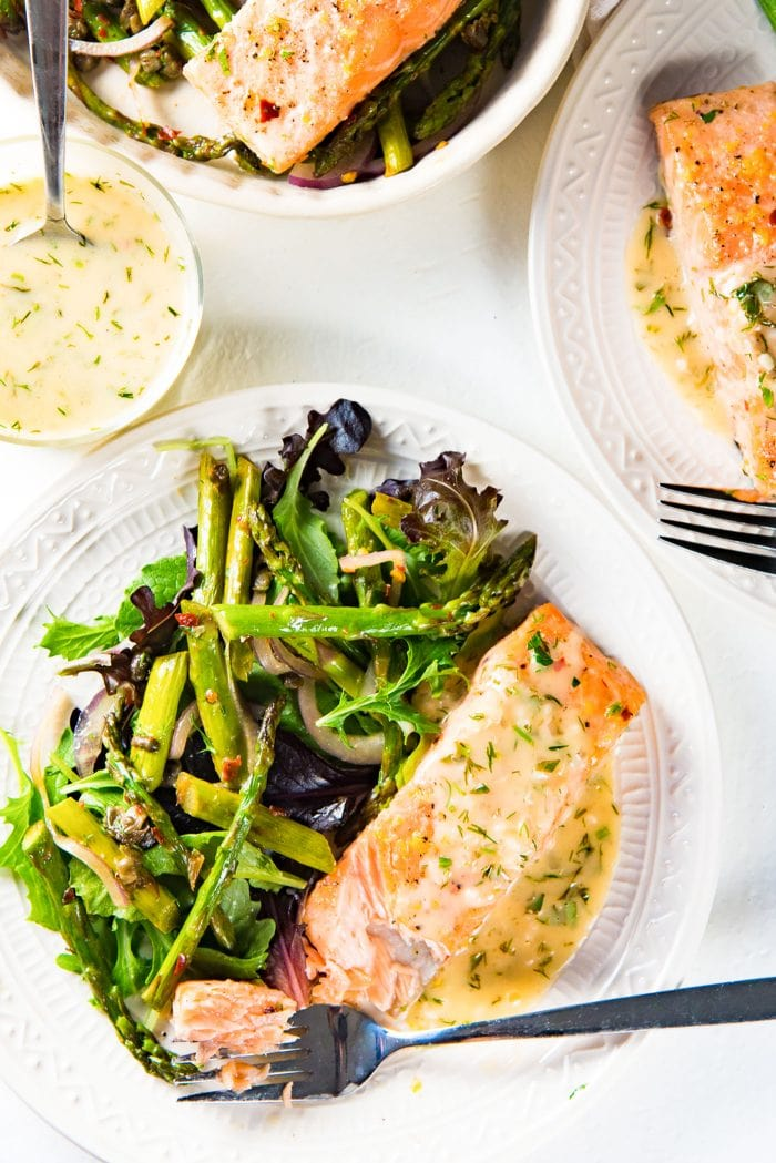 Buttery Lemon Slow Roasted Salmon with Lemon Butter Sauce - Serve this as a light lunch, or brunch or even as dinner.