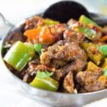 Sri Lankan Devilled Beef - A delicious spicy dry beef curry that combines Sri Lankan and chinese cuisine with devilishly flavorful results! Can be made with chicken, pork, lamb or mutton as well.