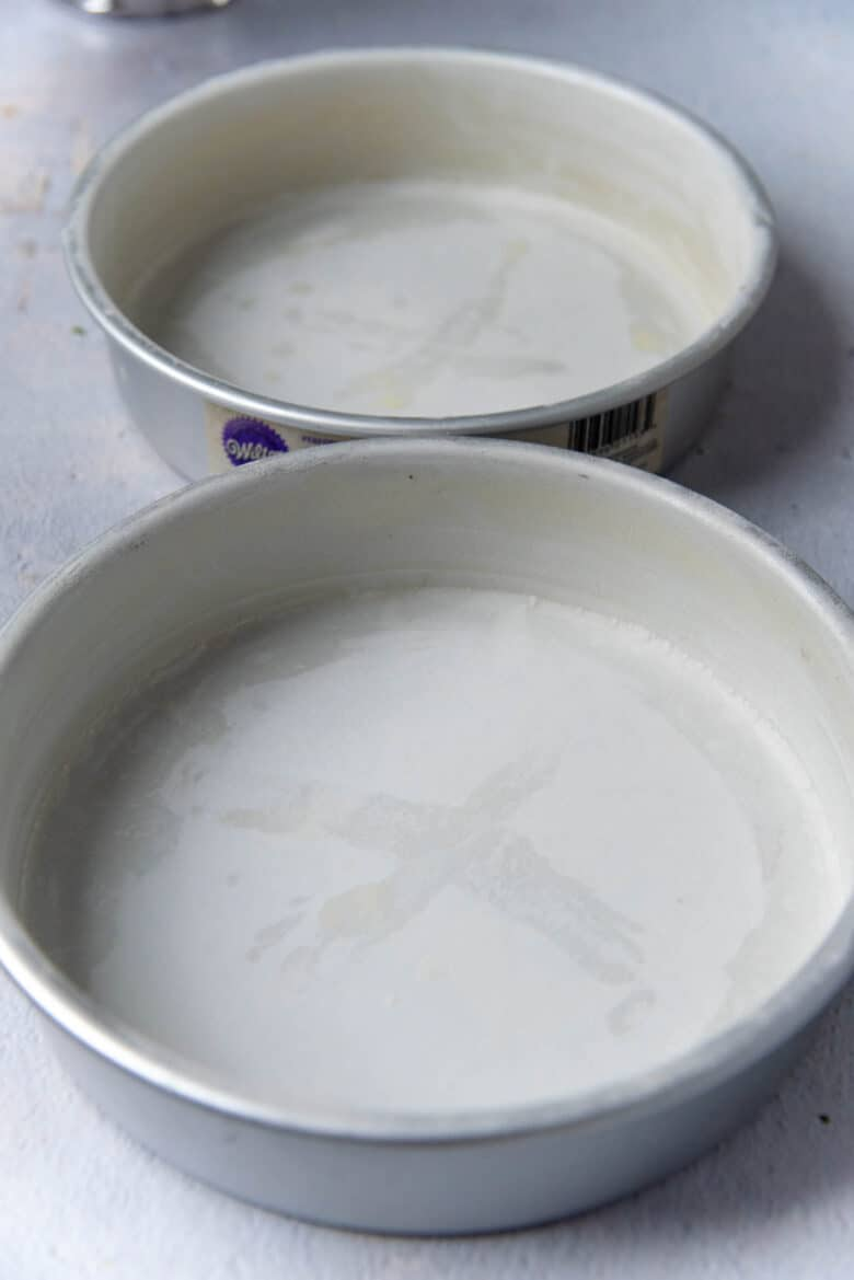 Cake pans prepared with parchment paper
