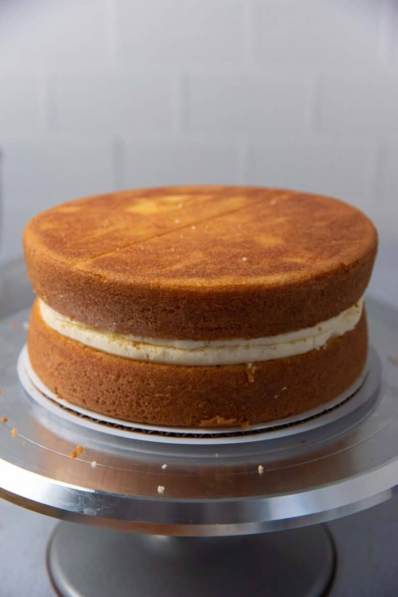 Second cake layer placed on top