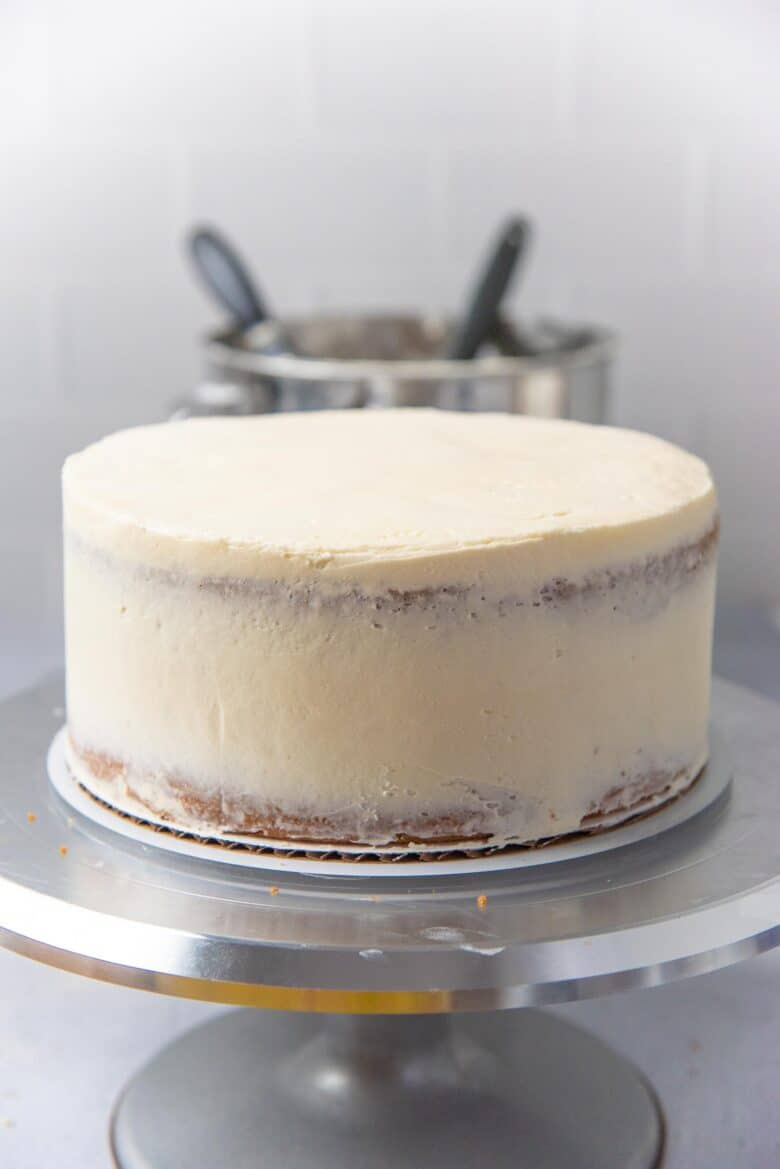 The vanilla cake with a crumb coating