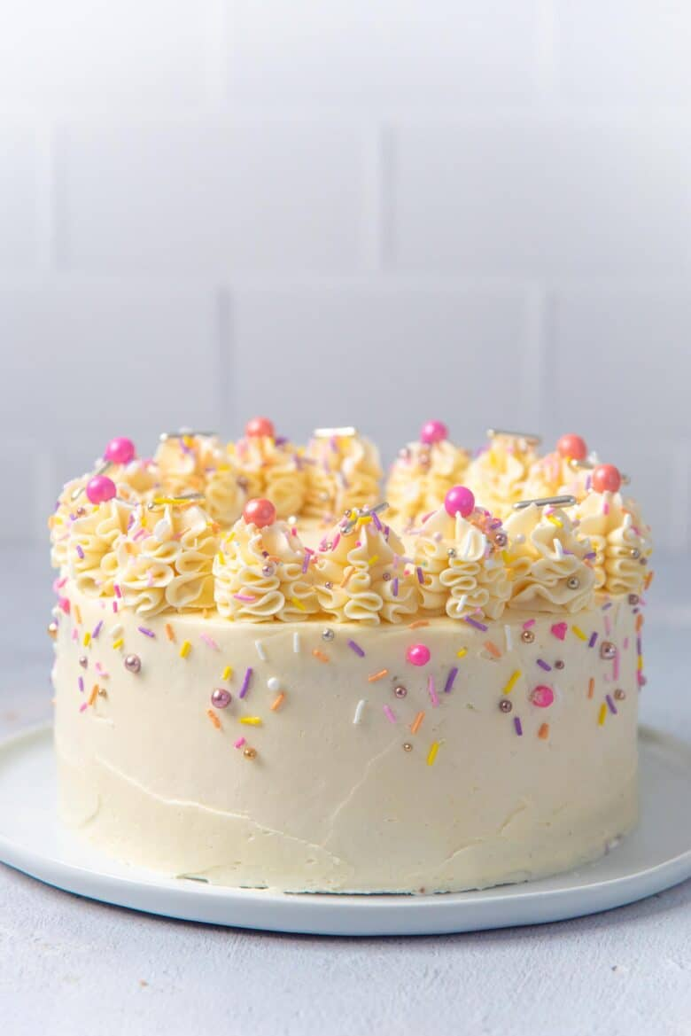 A birthday cake made with the best vanilla cake recipe
