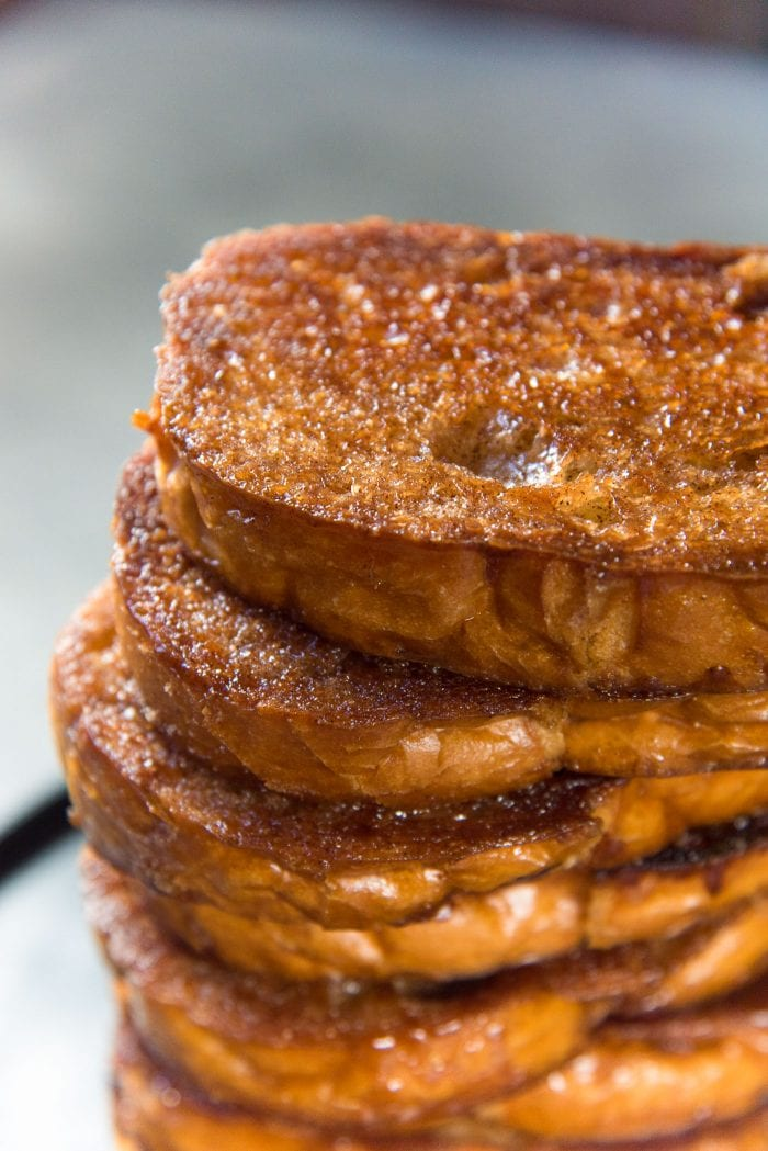 Serve the Best Cinnamon toast like a stack. The shiny caramelized surface is crunchy like a caramel.