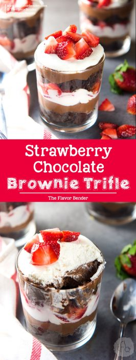 Strawberry Chocolate Brownie Trifle - Layers of fudgy chocolate brownies, chocolate pastry cream with Fresh strawberries and cream! So simple to assemble, and tastes amazing! #ChocolateDessert #ChocolateTrifle #Strawberries