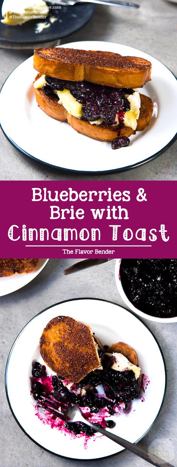 Roasted Blueberries and Brie with Cinnamon Toast - A simple, yet fancy, versatile dessert of brunch. Buttery, crunchy, sweet, salty cinnamon toast topped with a fruity blueberry compote and creamy brie. #DessertRecipes #BrunchRecipes #CinnamonToast #Brie #Blueberries