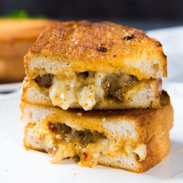 Curried Beef Grilled Cheese Sandwich - A combination of comforting curry flavors with creamy, gooey cheese! This is one epic grilled cheese sandwich!