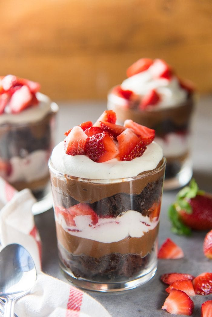 Strawberry Chocolate Brownie Trifle - You can substitute the chocolate brownies with chocolate cake if you prefer. The chocolate pastry cream tastes like chocolate pudding.