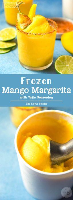 Frozen Mango Margarita -a creamy, sorbet like, fruity and refreshing frozen margarita with a spicy lime chili salt ring (Tajin Seasoning) to kick it up another notch! #MangoMargarita #FrozenMargarita #SummerCocktails
