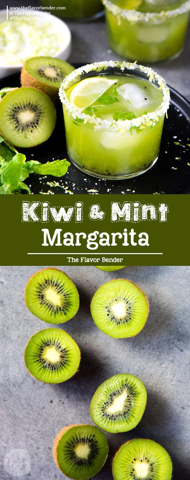 Mint Kiwi Margarita - A delicious margarita with tangy kiwi fruit, and refreshing mint! Perfect Summer sipper. Make individual cocktails or a batch mint kiwi margarita punch! #Margarita #PunchRecipes #KiwiFruit #Cocktails