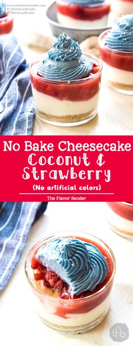No Bake Coconut Strawberry Cheesecake Jars - There's no artificial coloring or flavoring in these mini desserts. The perfect pairing of coconut cheesecake and fresh strawberry pie filling makes these the perfect Fourth of July dessert!