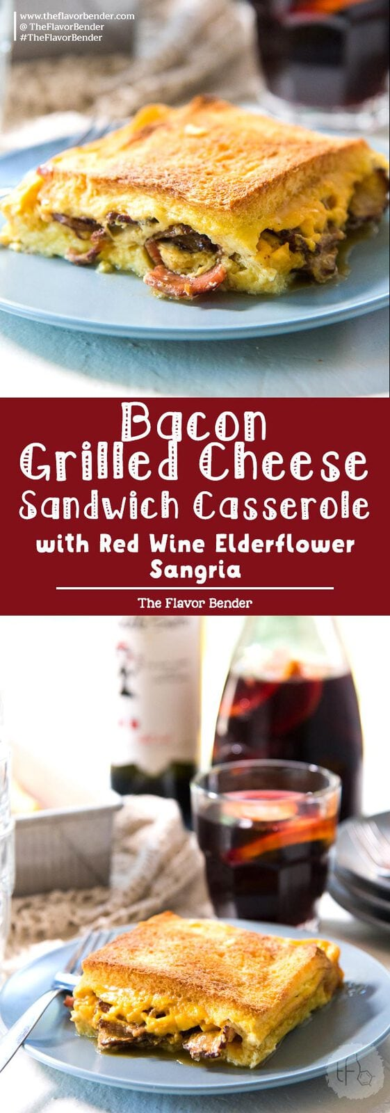 Bacon Grilled Cheese Sandwich Casserole - a delicious, make ahead breakfast casserole (or brunch casserole), that's easy to make and perfect for lazy mornings.#MiddleSisterWines [ad] This post is sponsored by Middle Sister Wines