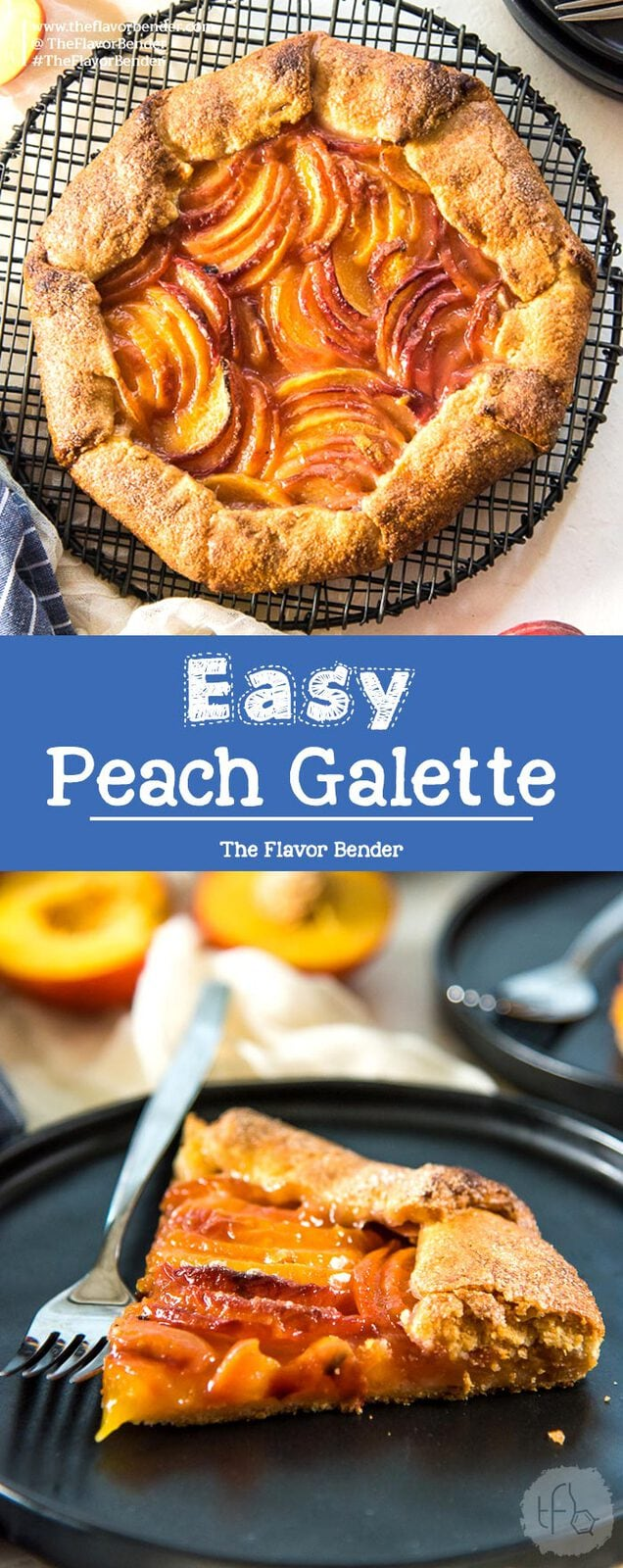 Easy Peach Galette - A delicious buttery pie crust, with a fresh, juicy peach filling! Fool proof, simple and easy summer dessert.