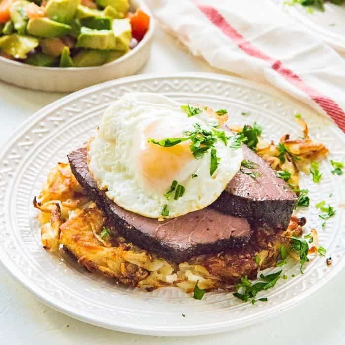 Sous-vide rump roast - succulent, tender slices of sous-vide steak and eggs. Perfect for breakfasts or brunch for a crowd.