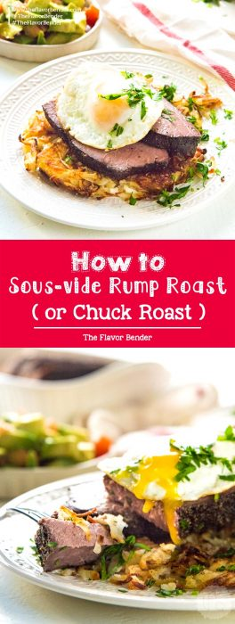 How to Sous-vide rump roast or chuck roast- succulent, tender slices of sous-vide steak and eggs. Perfect for breakfasts or brunch for a crowd. #SousVideRecipes #SteakandEggs #SousVideBeef