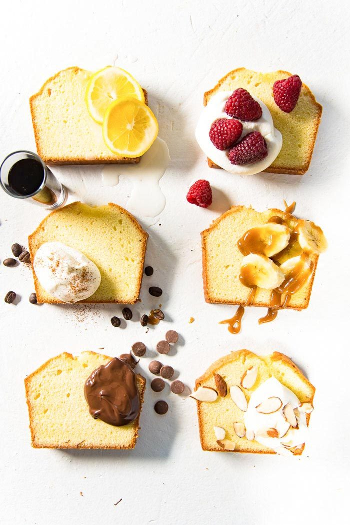 An overhead image of 6 slices of pound cake with creative and delicious ways to serve Classic Pound Cake. Lemon and Pound cake, Berries and Cream with Pound cake. Kahlua and cream with Pound Cake (Tiramisu). Banana, butterscotch and pound cake. Chocolate Hazelnut or Chocolate sauce and poundcake. Toasted nuts, whipped cream and pound cake.
