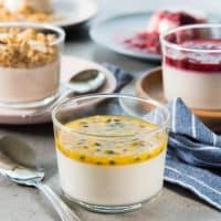 Creamy Coconut Panna cotta that is easy to make and is PALEO and DAIRY FREE (and Vegan friendly). A healthy dessert with THREE serving options that can double as breakfast as well!