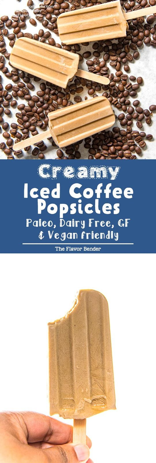 Iced Coffee Popsicles - A creamy coconut milk breakfast popsicle that is made with just 4 ingredients and is gluten free, dairy free, paleo, and vegan-friendly as well! #Breakfast #Dessert #Popsicles #IcedCoffee #PaleoDesserts