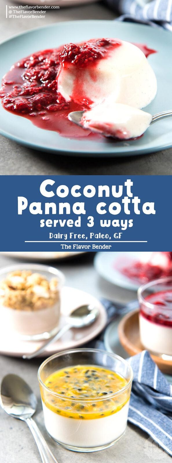 Creamy Coconut Panna cotta that is easy to make and is PALEO and DAIRY FREE (and Vegan friendly). A healthy dessert with THREE serving options that can double as breakfast as well!#EasyDessert #CoconutDesserts #PaleoRecipes #DessertForBreakfast
