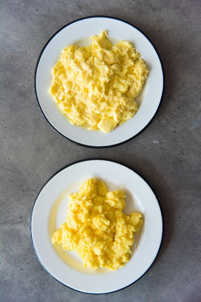 These scrambled eggs will make dry or wet scrambled eggs. Just cook these eggs a couple of seconds longer to help dry the eggs (Bottom). Cook it for a few seconds shorter for wet scrambled eggs (top).