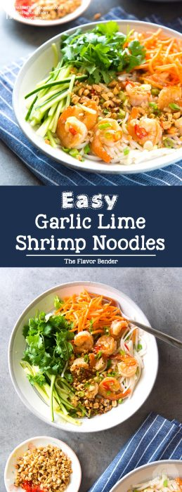 Garlic Lime Shrimp Rice Noodles - This rice noodle salad is perfect for lunch or dinner! Fresh, vibrant flavors and easy to make.