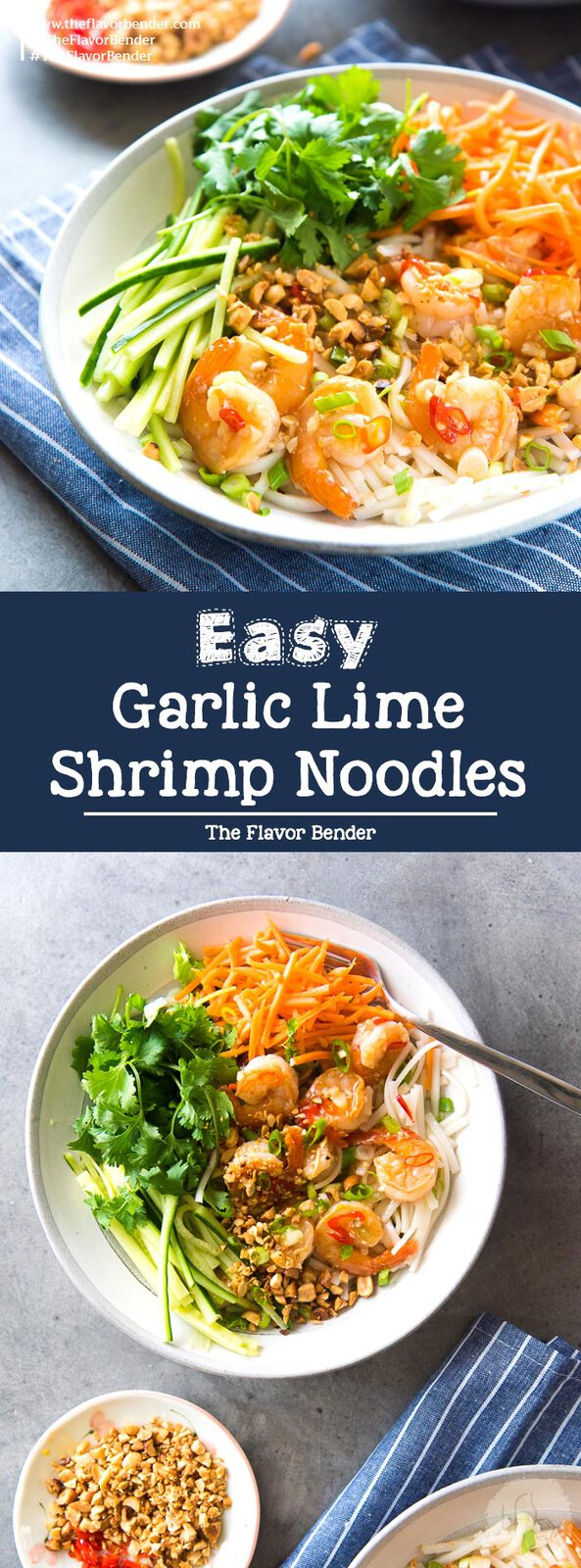 Garlic Lime Shrimp Rice Noodles - This rice noodle salad is perfect for lunch or dinner! Fresh, vibrant flavors and easy to make. Perfect for lunch boxes and for meal planning.