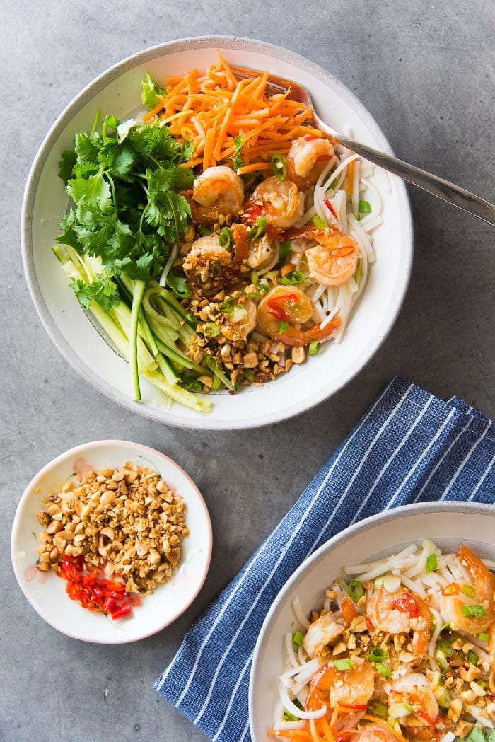 Garlic Lime Shrimp Rice Noodle salad is easy to pack up as a lunch idea as well. It's healthy and filling and very flavorful.