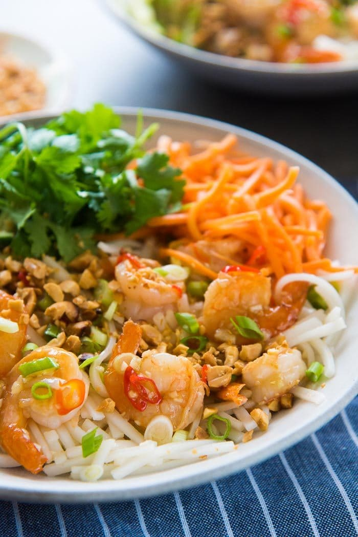 A close up of the garlic lime shrimp rice noodles in a bowl. With fresh carrot, peanuts and cilantro.