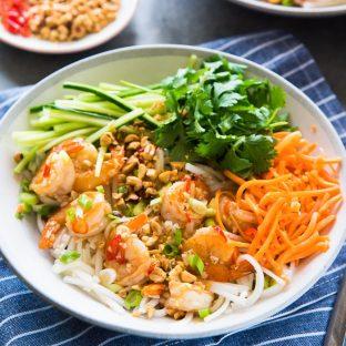 Garlic Lime Shrimp Rice Noodles