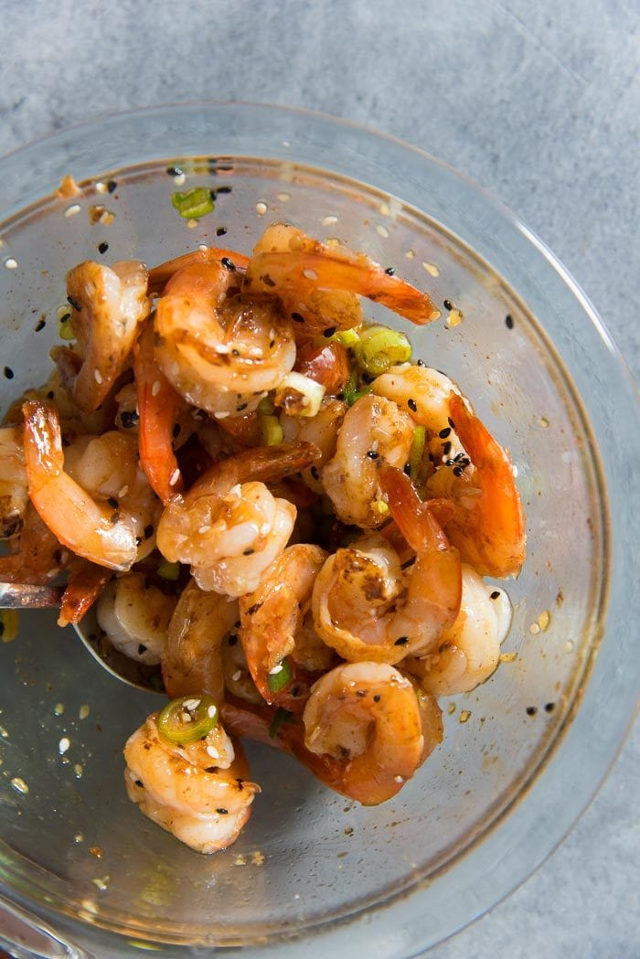 Pan fried shrimp tossed in a simple and easy teriyaki shrimp sauce that can be used as a teriyaki shrimp marinade as well.