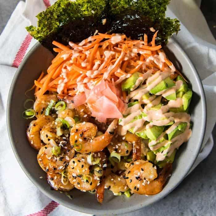 Easy Teriyaki Shrimp Rice Bowls