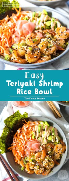 Easy Teriyaki Shrimp Rice bowls - Sweet and spicy shrimp recipe that is quick, easy and versatile! Perfect shrimp lunch recipe to make ahead or even for dinner.