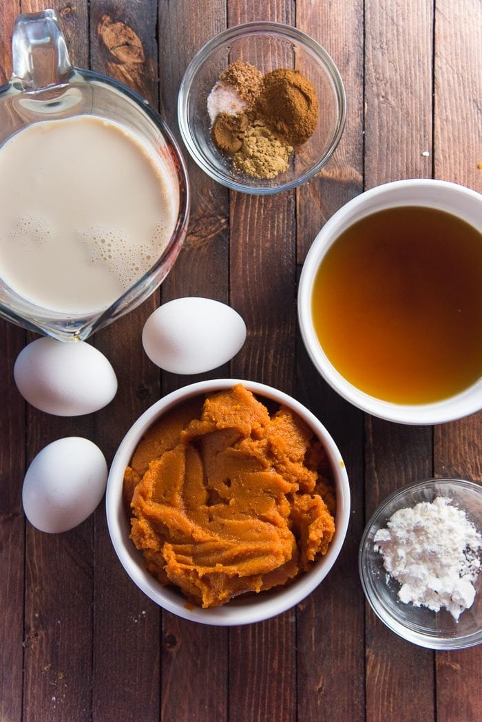 All the ingredients needed for a crustless pumpkin pie pudding for Thanksgiving.