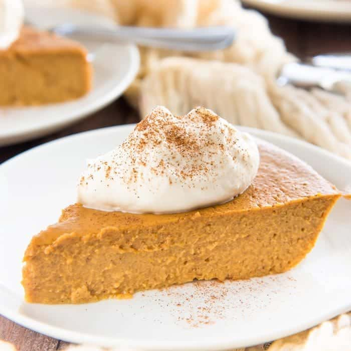 The BEST Crustless Pumpkin Pie