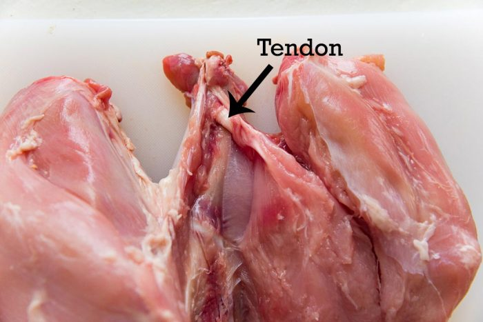 Snip / cut off the tendon to separate the breast meat from the bone easily.