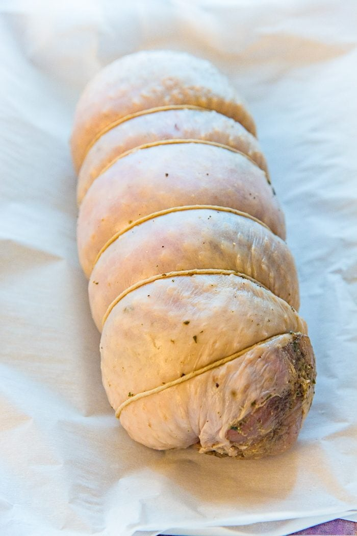 A Turkey Roulade that is ready to be cooked.