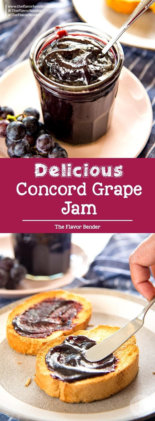 This Homemade Concord Grape Jelly recipe (Concord Grape Jam) is so easy, and so delicious! Perfectly tart and sweet and perfect on everything! #ConcordGrapeRecipes #ConcordGrapeJam #FruitSpreads #BreakfastSpreads #FruitJelly