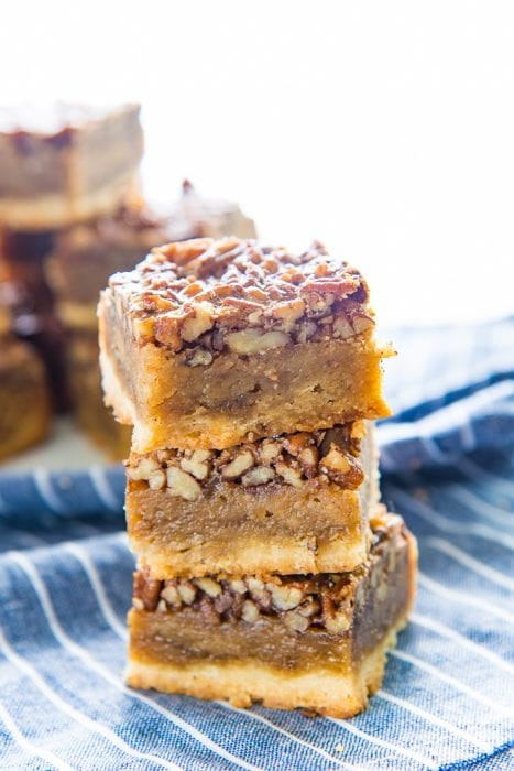 Fudgy Pecan Pie Bars - Classic Pecan pies, but as a bar or slice! A buttery shortbread crust and a fudgy flavorful pecan pie layer. A fantastic and easy dessert for Thanksgiving!