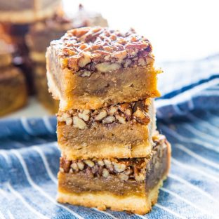 Fudgy Pecan Pie Bars - Classic Pecan pie, but as a bar or slice! A buttery shortbread crust and a fudgy flavorful pecan pie layer. A fantastic and easy dessert for Thanksgiving!