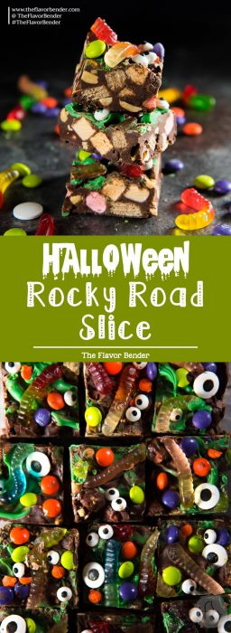 Halloween Rocky Road Slices - Addictively delicious, no bake, cute halloween treats, that are crunchy, soft and chewy goodies. Rocky road slices get a Halloween makeover! #HalloweenDesserts #CuteHalloweenTreats #KidFriendlyHalloween #LeftoverHalloweenCandy